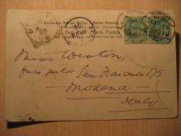 Bombay 1906 To Modena Italy India Inde 2 Stamp On Collonade Hindu Pillars Delhi Post Card British Colonies GB UK - India (...-1947)
