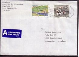 Iceland 1993 Airmail Cover To Lithuania – Birds Bridge #4235 - 1944-... Republique