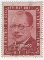CLN 1945 Vignette 2 Lire - USATO - Pro Vittime Politiche: C. Rosselli - Fiscales