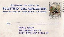 CARTOLINA POSTALE PUBBLICITARIA-BULLETTINO DELL'AGRICOLTURA-SUPPLEMENTO -MILANO-1-12-1976 - 1971-80: Usati