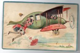 Humor Postcard With System Plane Wind Blow Carte A Systeme Carte Postale Ca1900 Vintage Original  Cpa Ak (W3_3443) - A Systèmes