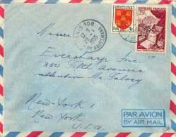 1955  Lettre Avion De France Pour Les USA  75fr Fl;eurs Et Parfums, Blason Poitou Yv 974, 952 - France