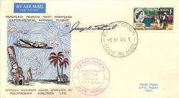 1966  Raratonga - Penrhyn - Tahiti  Experimental Flight  Signed By Pilot - Islas Cook