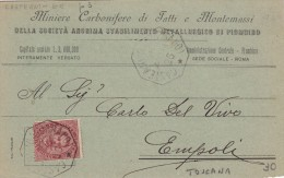 Miniere Carbonifere Di Tatti E Montemassi , Testatina Da Casteani Ad Empoli 1896. RARITA; - Other