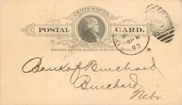 United States US UX9 Postal Card 1893 Kansas City KS To Burchard Nebraska NB - ...-1900