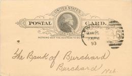 United States US UX9 Postal Card 1893 New York NY To Burchard Nebraska NB - Postal Stationery