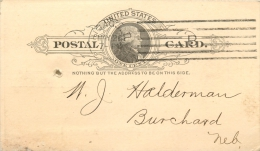 United States US UX9 Postal Card 1893 Chicago IL To Burchard Nebraska NB - ...-1900