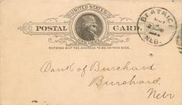 United States US UX9 Postal Card 1888 Beatrice NE To Burchard Nebraska NE - Entiers Postaux