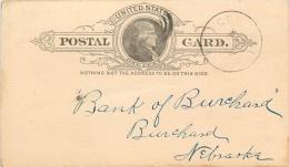 United States US UX9 Postal Card 1888 Grimmell KS To Burchard Nebraska NE - ...-1900