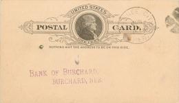 United States US UX9 Postal Card 1888 Pawnee City To Bank Of Burchard Nebraska NE - Postal Stationery