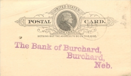 United States US UX9 Postal Card 1892 Pawnee City To Bank Of Burchard Nebraska NE - ...-1900