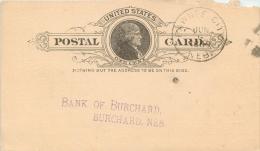 United States US UX9 Postal Card 1889 Pawnee City To Bank Of Burchard Nebraska NE - ...-1900