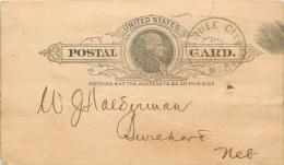 United States US UX9 Postal Card 1891 Pawnee City To Bank Of Burchard Nebraska NE - Postal Stationery