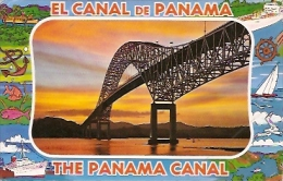 PANAMA: POSTAL DEL PUENTE DE LAS AMERICAS. THATCHER FERRY BRIDGE. CANAL DE PANAMA. GECKO. - Panama
