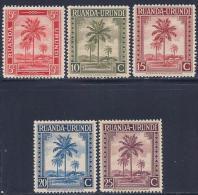 Ruanda-Urundi, scott # 68-72 mint hinged Oil Palms, 1942