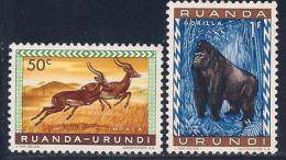 Ruanda-Urundi, Scott # 140-1 Mint Hinged Animals, 1959 - Ruanda-Urundi
