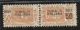 SOMALIA 1923 PACCHI POSTALI NODO DI SAVOIA SOPRASTAMPA SOMALIA ITALIANA 50 BESA SU 50 C MNH - Somalia