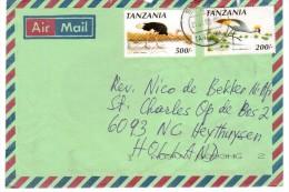 Tanzania - Air Mail  Affrancata Struzzo 500/- E Gru 200/- - Struzzi