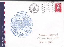"""BUREAU POSTAL MILITAIRE N°610 - 1991 - ENVELOPPE PAR AVION Avec CACHET """"RHIN"""" - Marcophilie (Lettres)"""