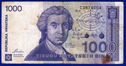 MONNAIE BILLET CROATIE CROATE REPUBLIKA HRVATSKA ZAGREB 8 LISTOPADA 1991 - 1000 TISUCU HRVATSKIH DINARA C 3874004 USAGE - Croatia