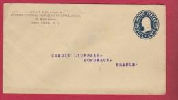 ETAT UNIS     ///  ENTIER  POSTAL  //  DE NEW YORK   ///  POUR BORDEAUX   // 1909 - Postal Stationery