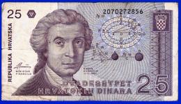 MONNAIE BILLET CROATIE CROATE REPUBLIKA HRVATSKA ZAGREB 8 LISTOPADA 1991- 25 DVA DESETPET HRVATSKIH DINARA N° 2070272856 - Croatia
