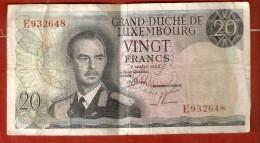 GRAND DUCHE DU LUXEMBOURG . VINGT (20 ) FRANCS 1966  Série E - Luxembourg