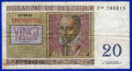 MONNAIE BILLET ROYAUME DE BELGIQUE BELGE KONINKRIJK BELGIE 03 04 56 TRESORERIE 20 FRANCS Z09 780815 TWINTIG FRANK... - 20 Francs