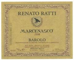 Etichetta / Label Renato Ratti Rocche Marcenasco 1998 Barolo - Rouges