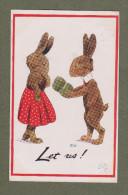 Cpa Signée Ilustrateur - Lapins Humanisés, Humanized Rabbits, Love - Künstlerkarten
