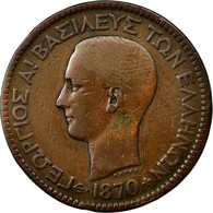 Monnaie, Grèce, George I, 10 Lepta, 1870, Strassburg, TB, Cuivre, KM:43 - Grèce