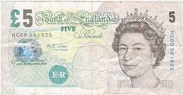 Grande Bretagne, 5 Livres, Type Elisabeth Fry - 1952-… : Elizabeth II