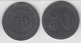 **** ALLEMAGNE - GERMANY - 50 PFENNIG CREFELD - OFFIZIERGEFANGENENLAGER - ZINC **** ACHAT IMMEDIAT !!! - Monétaires/De Nécessité