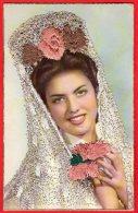 [DC6451] CARTOLINA - SPAGNOLA - CON RICANMI IN RILIEVO - Old Postcard - Femmes
