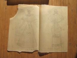 Dessin Fusain (original 1943)Thème Mode Vestimentaire Féminine: Costume D´apparat Papier Kraft Transparent - Dibujos