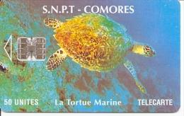 """* < Comores ¤Tortue Marine - SC7 - N° 2 Lettres + 7 Chiffres Sous """"SNPT"""" - Comoros"""
