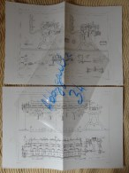 FILATURE DE LAINE PEIGNEE --- BOBINOIR PAR M. CARBON (2 Planches) Publication Industrielle - Machines
