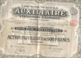 Cie Générale Auxiliaire D'Entreprises Electriques - 1909 - Electricité & Gaz
