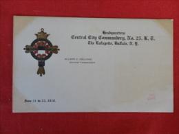 Central City Commandery No 25 Buffalo NY   1910  Not Mailed   Ref 1261 - Postcards