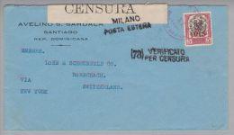 Dominikanische Republik 1916-08-16 Zensurpost Nach Rorschach CH - Dominicaine (République)