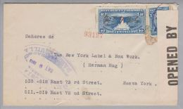 Kolumbien 1918-09-09 R-Zensurbrief Nach New York - Colombie