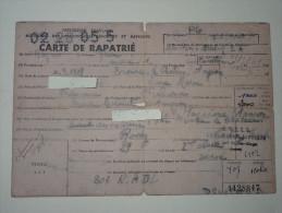 MNPGD St Affrique Aveyron Carte De Rapatrie Du Prisonnier De Guerre Arrive En Allemagne 7-1-1940 - 1939-45