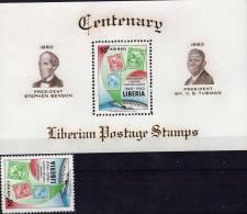 100 Jahre Briefmarken 1960 Liberia 560+Block 17 ** 6€ Stamp On Stamp #1-3 Präsidenten Porträt Liberias Bloque Sheet Bloc - Liberia