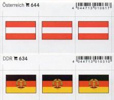 2x3 In Farbe Flaggen-Sticker Österreich+DDR 4€ Kennzeichnung Alben Karten Sammlung LINDNER 644+634 Flags Austria Germany - Briefmarken