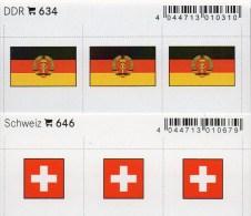 2x3 In Farbe Flaggen-Sticker Schweiz+DDR 4€ Kennzeichnung Alben Karten Sammlung LINDNER 646+634 Flag Of Helvetia Germany - Briefmarken