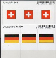2x3 In Farbe Flaggen-Sticker Schweiz+BRD 4€ Kennzeichnung Alben Karten Sammlung LINDNER 646+630 Flag Of Helvetia Germany - Briefmarken