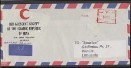 IRAN Air Mail Postal History IRAN Env 015 Red Crescent Meter Marks - Iran