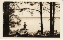 Mormon Lake Arizona, Man Fishing In Boat C1920s Vintage Real Photo Postcard - Other