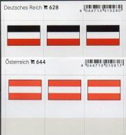2x3 In Farbe Flaggen-Sticker Österreich+DR 4€ Kennzeichnung Alben Karten Sammlung LINDNER 628+644 Flag Austria III.Reich - Briefmarken