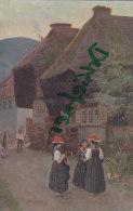 H. Hoffmann: Dorfstraße Im Schwarzwald, Tracht Mit Bollenhut, Um 1910 - Personaggi